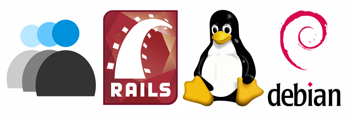 Rails, Linux, Debian logos