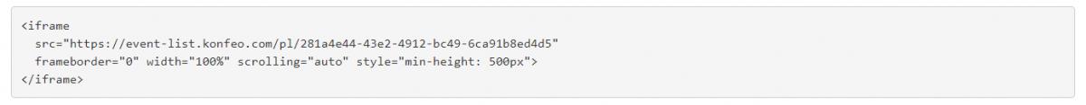 Konfeo - event list code
