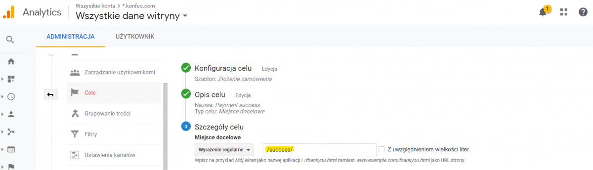 Konfeo - Google Analtyics - cel kampanii